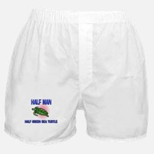 Half Man Half Green Sea Turtle Boxer Shorts