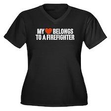 My Heart Belongs to a Firefighter Women's Plus Siz