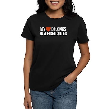 My Heart Belongs to a Firefighter Women's Dark T-S