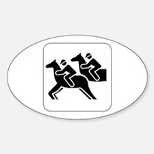 Horse Racing Icon Oval Decal
