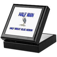 Half Man Half Great Blue Heron Keepsake Box