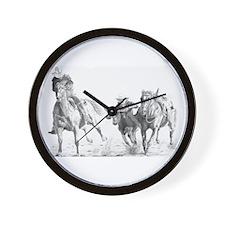 Steer Wrestler Wall Clock