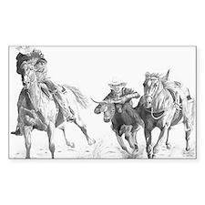 Steer Wrestler Rectangle Decal