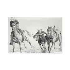 Steer Wrestler Rectangle Magnet