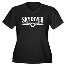 Skydiver Women's Plus Size V-Neck Dark T-Shirt