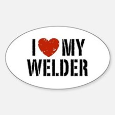 I Love My Welder Oval Decal