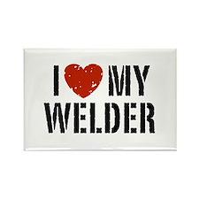 I Love My Welder Rectangle Magnet