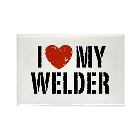 I Love My Welder Rectangle Magnet