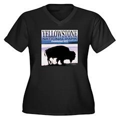 Bison Yellowstone National Pa Women's Plus Size V-