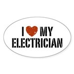 I Love My Electrician Oval Sticker