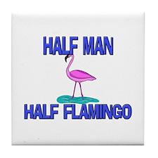 Half Man Half Flamingo Tile Coaster