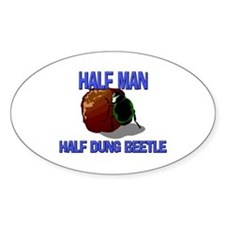 Half Man Half Dung Beetle Oval Stickers