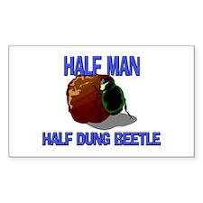 Half Man Half Dung Beetle Rectangle Stickers