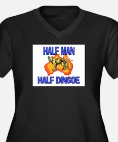 Half Man Half Dingoe Women's Plus Size V-Neck Dark