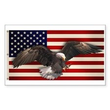 American Flag w/Eagle Rectangle Decal