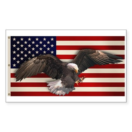 American Flag w/Eagle Rectangle Sticker