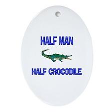 Half Man Half Crocodile Oval Ornament