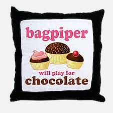 Chocolate Bagpiper Throw Pillow