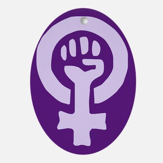 Feminist Woman Power Oval Ornament