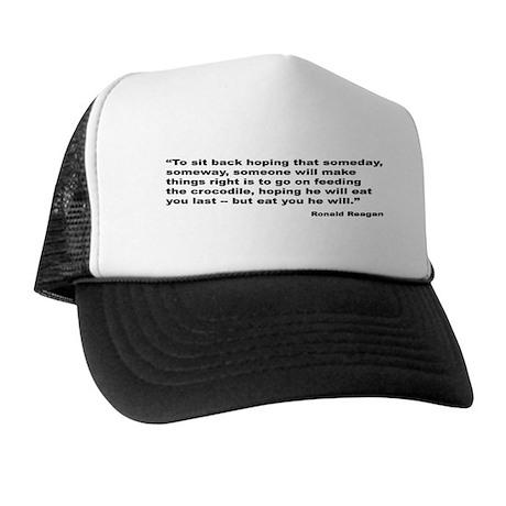 Reagan Crocodile Quote Trucker Hat