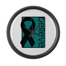 Teal (Believe) Ribbon Large Wall Clock