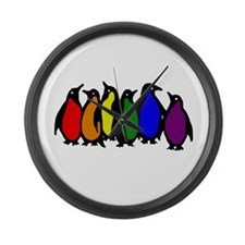 Rainbow Penguins Large Wall Clock