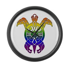 Rainbow Turtle Large Wall Clock