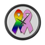 Rainbow & Pink Ribbons Large Wall Clock