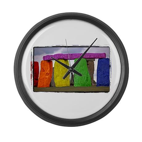 Rainbow Stonehenge Large Wall Clock