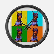 Daring Doberman Large Wall Clock