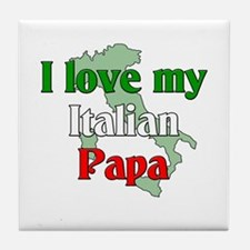 I Love My Italian Papa Tile Coaster