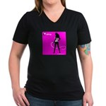 GlamourNation.com Women's V-Neck Dark T-Shirt