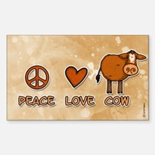 peace love cow Rectangle Decal