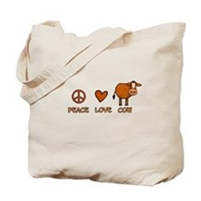 peace love cow Tote Bag
