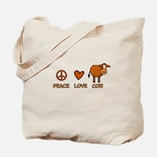 peace love cow Tote Bag