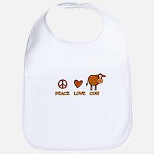 peace love cow Bib