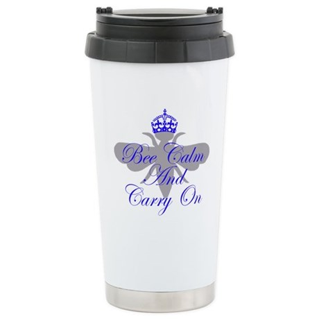 Bee Calm and Carry on Stainless Steel Travel Mug