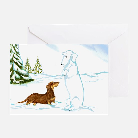Wirehaired Weiner Snow Dog Greeting Card