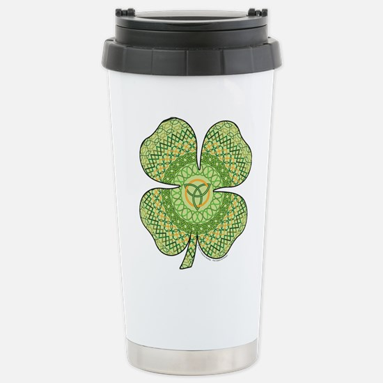 Celtic Shamrock Stainless Steel Travel Mug