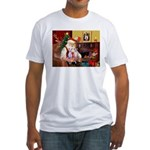 Santa & his 2 Whippets Fitted T-Shirt