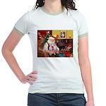 Santa & his 2 Whippets Jr. Ringer T-Shirt