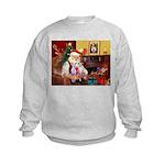 Santa & his 2 Whippets Kids Sweatshirt