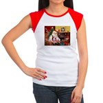 Santa & his 2 Whippets Women's Cap Sleeve T-Shirt