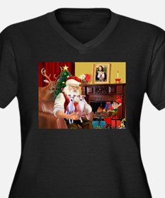 Santa & his 2 Whippets Women's Plus Size V-Neck Da