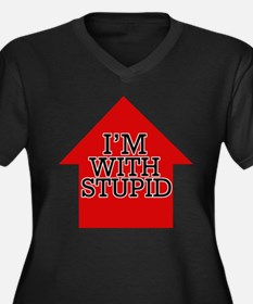 I'm with Stupid Women's Plus Size V-Neck Dark T-Sh