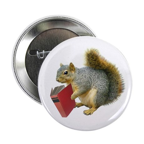 """Squirrel with Book 2.25"""" Button (10 pack)"""