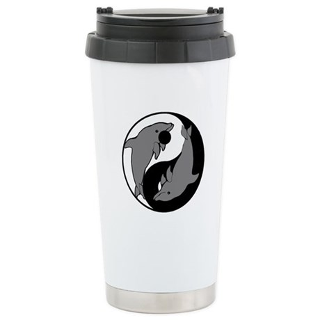 Yin Yang Dolphins 1 Stainless Steel Travel Mug