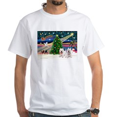 Xmas Magic & 2 Westies White T-Shirt