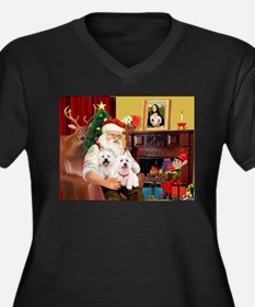 Santa's Westie pair Women's Plus Size V-Neck Dark