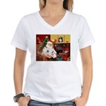 Santa's Westie pair Women's V-Neck T-Shirt